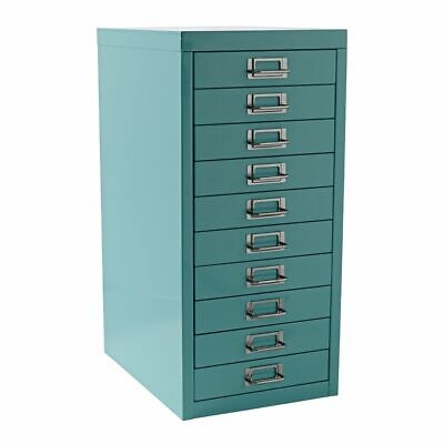 NEW Spencer 10 Drawer Office Filing Storage Cabinet A4 Aqua with Wheels