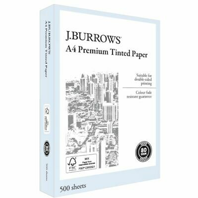 J.Burrows Premium A4 Tinted Paper Ream Blue