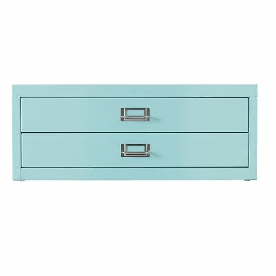 NEW Spencer Desktop 2 Drawer Office Filing Storage Cabinet A3 Aqua with Feet