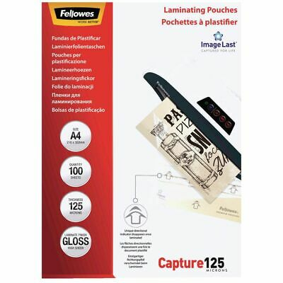 NEW Fellowes Micron A4 Glossy Laminating Pouches 100 Pack 125 Laminating Machine