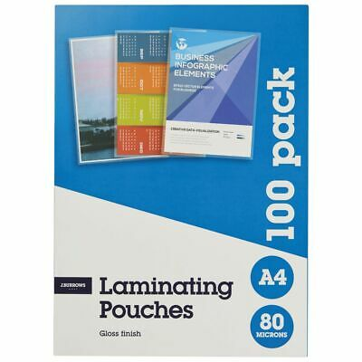 J.Burrows A4 Laminating Pouch 80 Micron Gloss 100 Pack