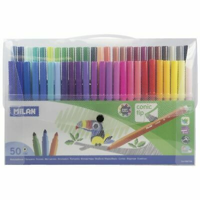 Milan Cone-Tipped Water Based Fibre Pens 50 Pack