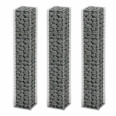 3pcs Gabion Wall 4mm Strong Metal Gabions Basket 25x25x150cm Galvanized Steel