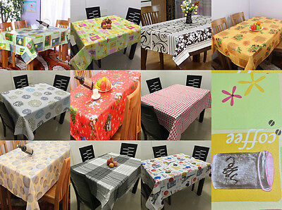Tablecloth Wipe Clean PVC Vinyl Rectangle Square Table Protect Cover Cloth