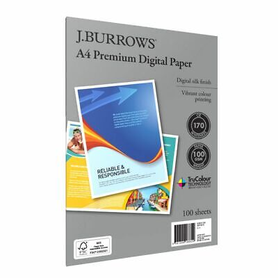 J.Burrows Premium 100gsm A4 Digital Copy Paper 100 Sheets
