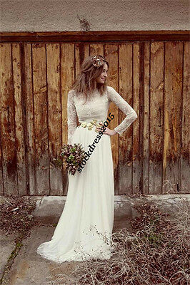 Lace Long Sleeve Bohemian Wedding Bridal Gown Dress custom Size 6 8 10 12 14 16