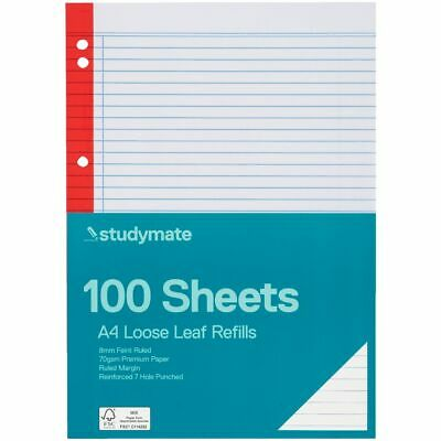 Studymate Premium Coloured A4 Loose Leaf Refills 100 Pack