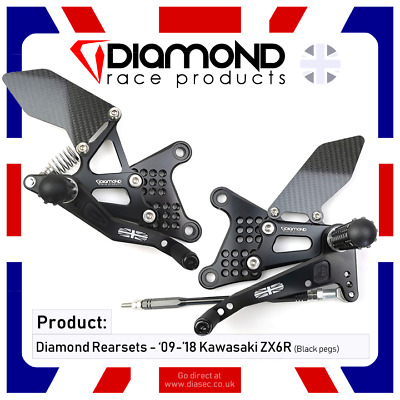 Diamond Race Products - Kawasaki Zx6R Zx6 2009-2019 09-19 Rearset Footrest Kit