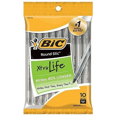 Bic Round Stic Xtra Life Medium Ballpoint Pen, Black Ink 10 ea (Pack of 3)