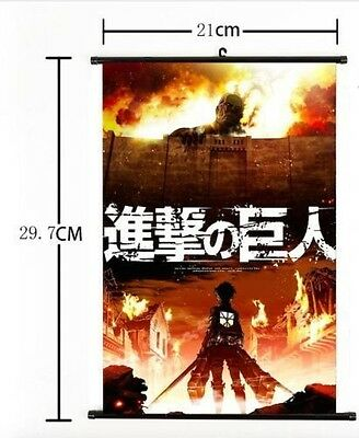 """Hot Japan Anime Attack on Titan Home Decor Wall Scroll Poster 8""""×12"""" 002"""