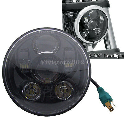 "5.75"" Black Motorcycle LED Headlight Daymaker Projector DRL Bulb For Harley"