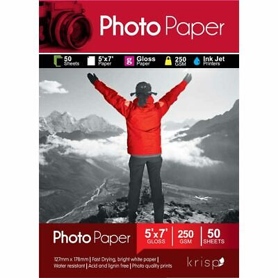 Krisp 250gsm 5 x 7 Glossy Inkjet Photo Paper 50 Sheet Pack