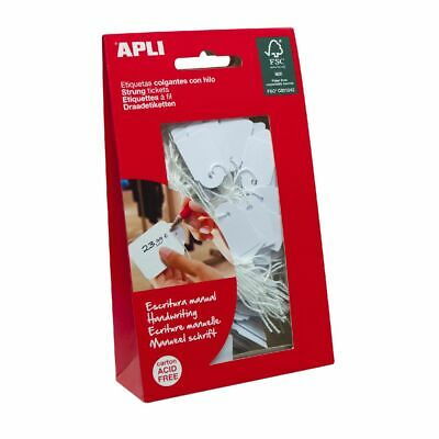 Apli 07011 Strung Tickets 22 x 35mm White 100 Pack