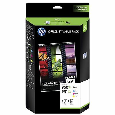 NEW HP 950XL Ink Cartridges Black & Colour Ink & Paper Mega Pack 950XL Ink