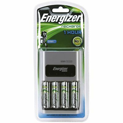 NEW Energizer Battery Charger and 4 AA Batteries NiMH 1 Hour