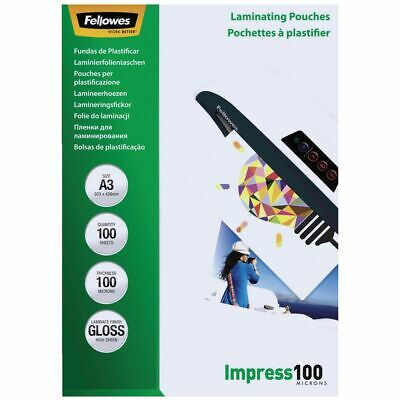 NEW Fellowes Micron A3 Glossy Laminating Pouches 100 Pack 100 Laminating Machine