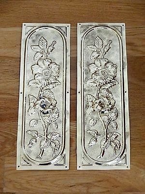 Pair Reclaimed Brass Arts & Crafts Finger Door Push Plates Fingerplate
