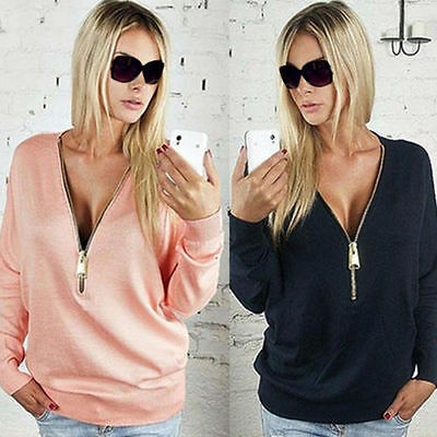 Womens Sexy Zipper V-Neck Long Sleeve Shirts Womens Jumper Pullover Blouse Tops