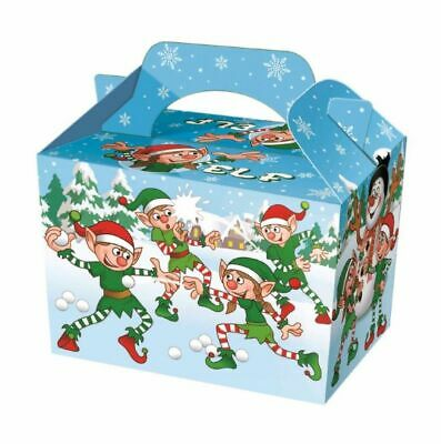 10 Christmas Elf Party Boxes - Food Loot Lunch Cardboard Gift