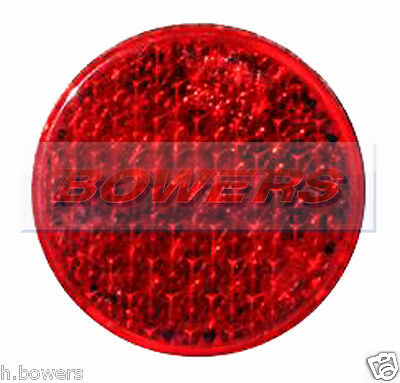 REAR RED ROUND STICK ON ADHESIVE REFLECTOR 43mm TRUCK CAR MOTORCYCLE MOTORBIKE