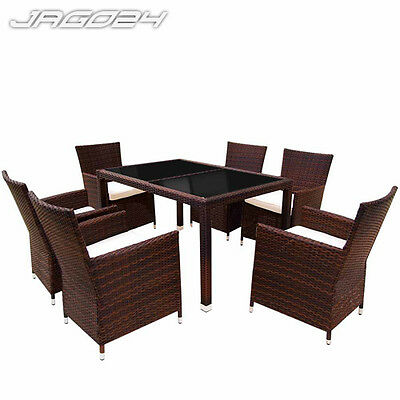 Poly Rattan Dining Table and 6 Chairs Set Garden Furniture Outdoor Patio Brown