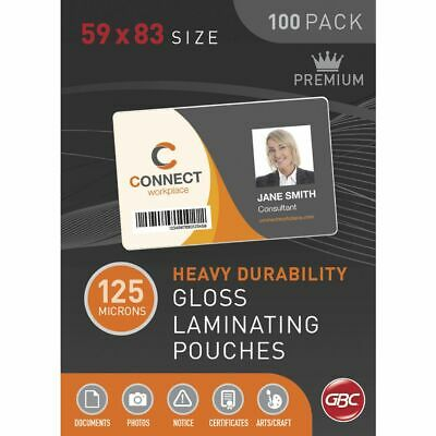 GBC Laminating Pouch 59 x 83mm 125 Micron Gloss 100 Pack