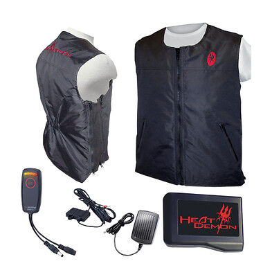 Heat Demons Mens Heated Riding Vest with Battery/Controller/Charger LS XL Black