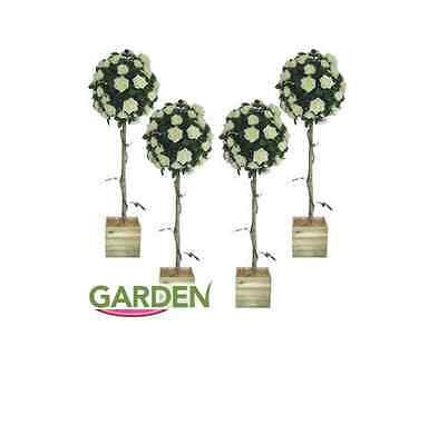 x4 Artificial Topiary Trees 4ft White Rose Wedding Engagement Party Decoration