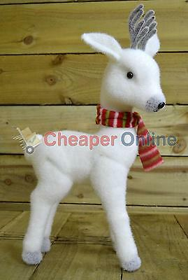 50cm White Reindeer Red Scarf Christmas Indoor Standing Decoration Winter