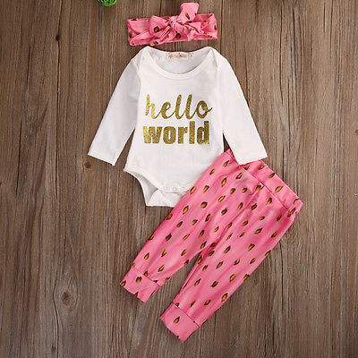 Newborn Baby Girls Clothes Long Sleeve Rompers+Pants+Headband 3pcs Outfits Set