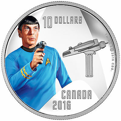 1/2 Oz Silber Proof Star Trek™ - Spock 10 Dollar Kanada 2016 Canada 50th anni