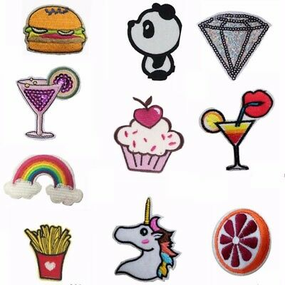DIY Unicorn Rainbow Patch Food Kids Iron On Cartoon Patches For Clothes Stickers