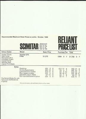 Reliant Scimitar Gte Price List Car Sales 'brochure'/sheet October 1968