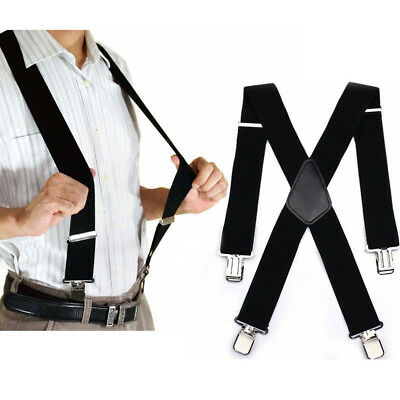 "Mens Braces Suspenders 2""  Wide Heavy Duty Work Biker Leathers Braces 41"" Black"