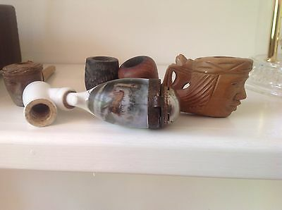 Lot of 5 vintage pipes - wooden heads with monkey on back- ceramic with deer/elk