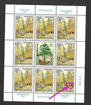 Montenegro-Mnh Small Sheet-Forest-Tax Stamps-Engraver-2002.