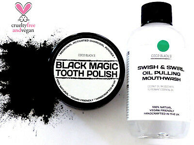 50ml ACTIVATED CHARCOAL TOOTH POLISH + COCONUT PEPPERMINT OIL PULLING MOUTHWASH