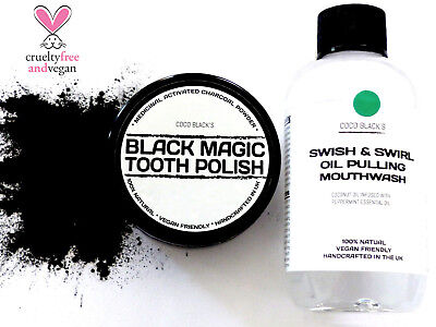 Activated Charcoal Tooth Polish + Coconut Peppermint Oil Pulling Mouthwash