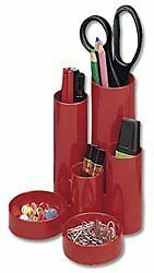 5 Star Office Desk Tidy with 6 Compartment Tubes Red