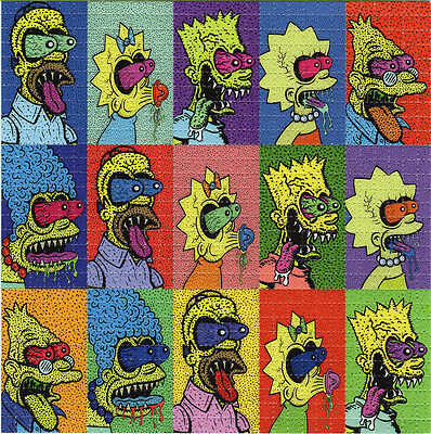 Crazed Tripping Wild SIMPSONS  - BLOTTER ART Perforated Sheet acid free art page