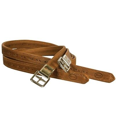 BEVAL Flat Buckle Lined English Stirrup Leathers - COGNAC - All sizes in stock