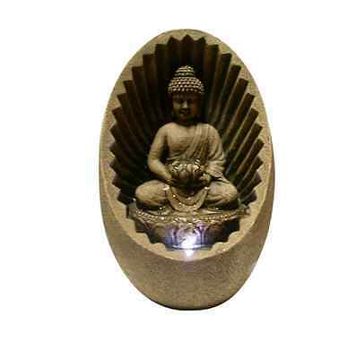 Buddha Statue Fountain Zen Water Tabletop Indoor Outdoor with LED Light