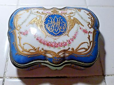 19Th C Severes Style Box With Russian Painted Enamel Double Headed Eagle