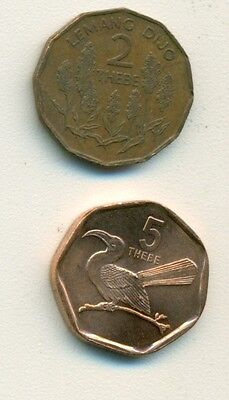 2 COINS from BOTSWANA - 1981 2 THEBE & 1998 5 THEBE w/ BIRD.