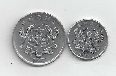 2 DIFFERENT COINS from GHANA - 5 & 20 PESEWAS (BOTH 2007)
