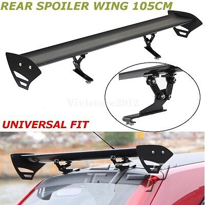 Universal 110cm Aluminum Adjustable Single Deck GT Rear Trunk Wing Spoiler Black