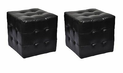 New 2pcs Leather Ottoman Black Cubed Bedside Foot Stool Seat Blanket Box Chairs