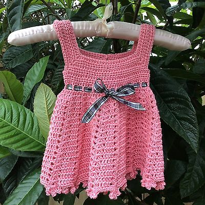 PINK Handmade crochet BABY DRESS  with tartan ribbon - 6 months - made in PERTH