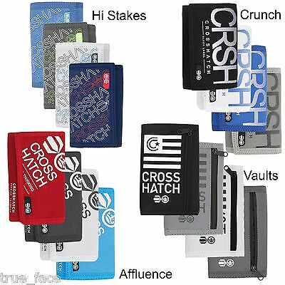 New Mens Crosshatch Three Fold Zip Wallets Print Card Currency Purse