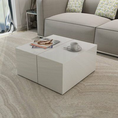 White High Gloss Coffee Table Side Ends Cabinet Storage Furniture Living Room